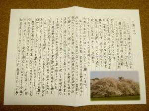 世田谷自然食品の社長あいさつ。お世辞にもお上手とは言えない文字ですが実直な感じが伝わってきました。