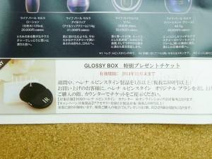 2014年11月末まで使えるGLOSSYBOX(グロッシーボックス)特別プレゼントチケット入り。直接カウンターに行って2300円以上の購入によりとありました。ブラシ欲しいかも。