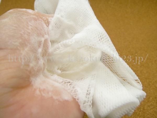 チャントアチャーム透明洗顔石鹸の泡立ちは良好。ふわふわとした泡ができました。