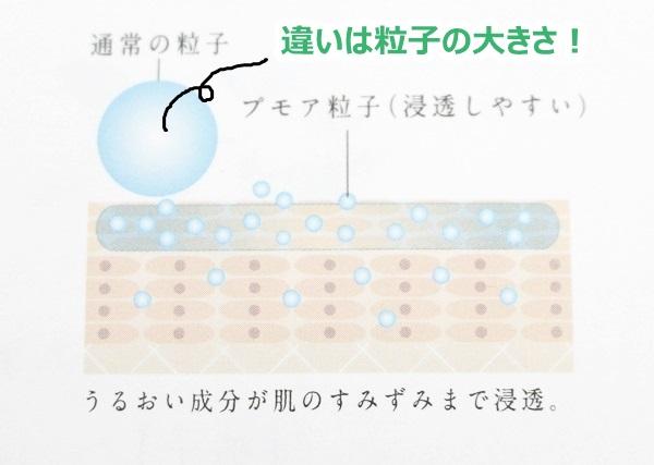プモアローションの浸透の良さは、粒子の細かさにあるらしいです。