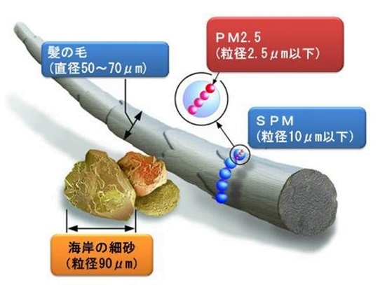 資生堂アレルバリアエッセンスの口コミページに添付用の写真。PM2.5の粒子がいかに小さいことがわかります。
