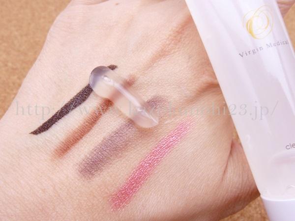 オゾン化グリセリン配合クレンジングジェルの使用感 オゾン化粧品 クレンジングジェルでアイライナー落とし実験画像公開。