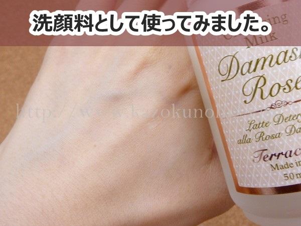 テラクオーレダマスクローズクレンジングは、洗顔料としても使える感じです。泡立たないけど、朝洗顔には良さそうです。