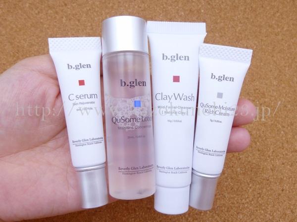 ビーグレン ニキビ跡ケア お試しセットの内容は、こんな感じ。化粧水・美容液・クリーム・洗顔料となってます。
