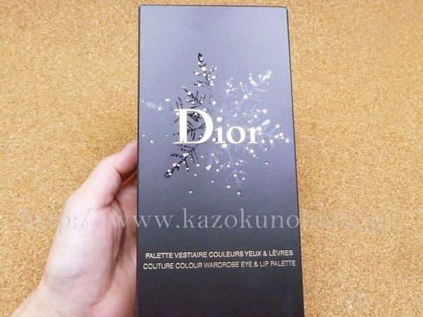 6色のアイシャドウと3色の口紅がセットされたDior(ディオール) クチュール カラー ワードローブ パレットはこんな外箱にはいってました。