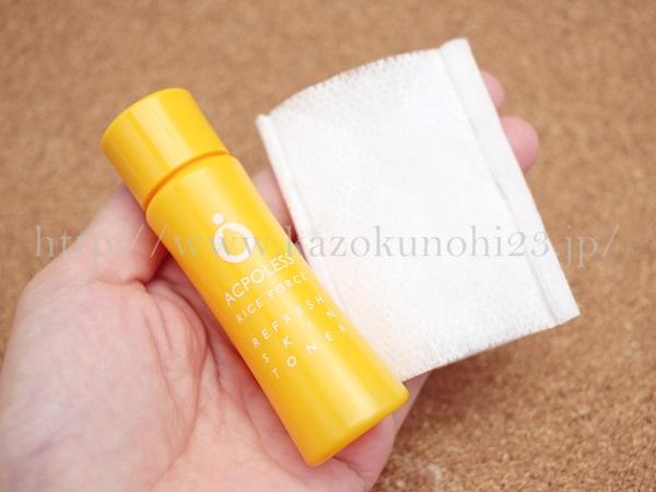 アクポレス リフレッシュスキントナーは、コットンで拭き取るタイプの化粧水です。