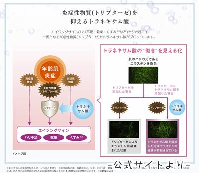 トラネキサム酸の肌への効果のイラスト。